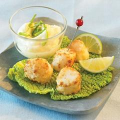 Golden Scallops with Lime Aioli
